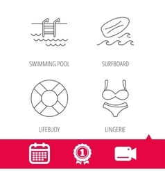 Surfboard swimming pool and bikini icons vector
