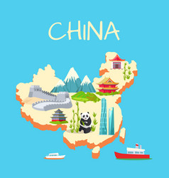 China with its traditional elements signs on blue vector