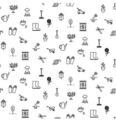 Garden tools line icons seamless pattern vector