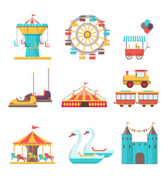 Set of amusement park elements on white background vector