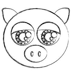 Blurred sketch silhouette face cute pig animal vector