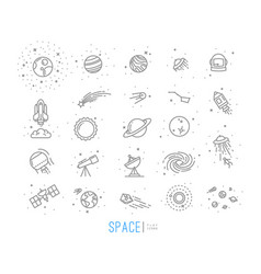 Space flat icons vector