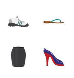 flat garment set of stylish apparel sneakers vector image