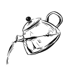 Hand drawn graphic ink sketch of teapot vector
