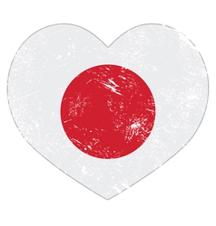 Japan retro heart shaped flag vector image