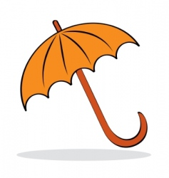Orange umbrella with grey shadow vector