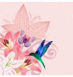 Birdie on the lilies vector