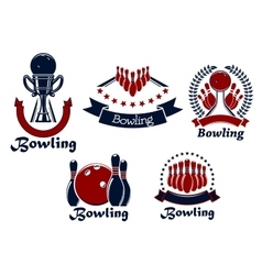 Bowling game icons with balls ninepins and trophy vector