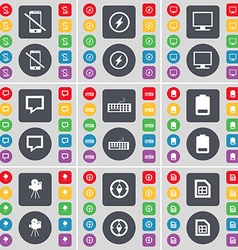 Smartphone flash monitor chat bubble keyboard vector