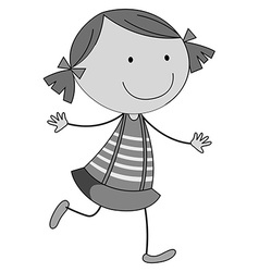 Little girl in skirt running vector