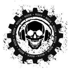Rock skull headphones vector