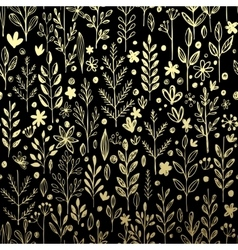 Seamless pattern with gold leaf and grass vector