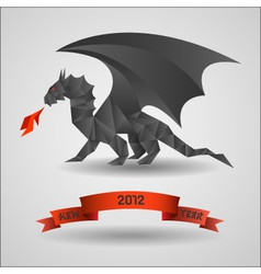 Origami black dragon - symbol of 2012 year vector