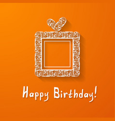 Orange background with a gift box vector