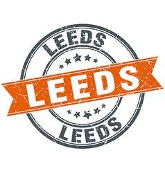 Leeds red round grunge vintage ribbon stamp vector image