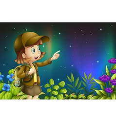 A girl in a rainforest vector image vector image