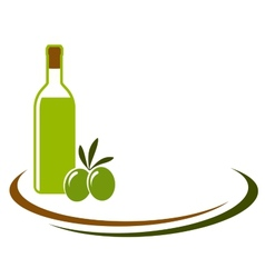 Background with olive oil and olives vector