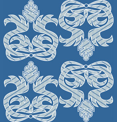 baroque ornamental motif white embroidered lace vector image
