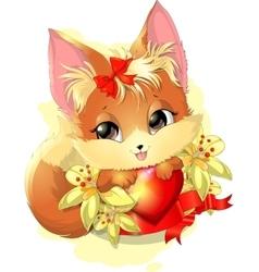 beautiful fox among the flowers vector image
