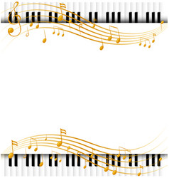 Border template with with piano keyboards and vector