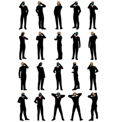 Business men silhouette set vector image