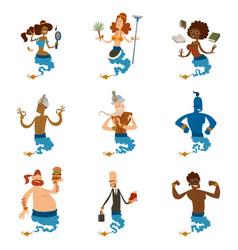 cartoon genie character magic lamp vector image