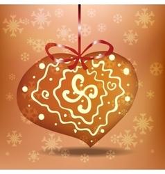 Christmas gingerbread heart vector image