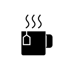 cup with tea icon black sign vector image vector image
