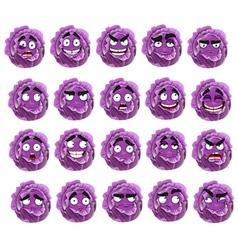 cute cartoon purple cabbage smile vector image vector image