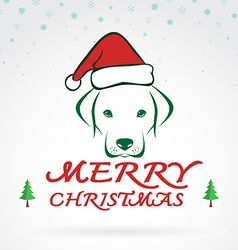 Dog merry christmas vector image vector image
