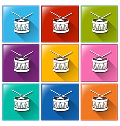 Drum icons vector image vector image