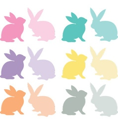 Easter Bunny Silhouette set vector image vector image