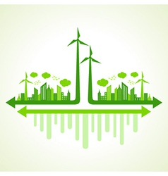 Ecology concept with wind mill vector
