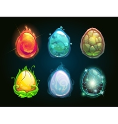 Element icons dragon eggs set vector