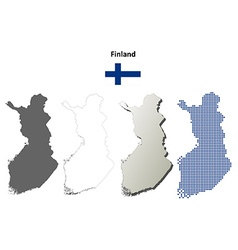 Finland outline map set vector