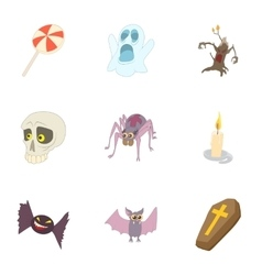 Halloween holiday icons set cartoon style vector image