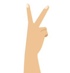 Hand with two fingers up in victory symbol vector
