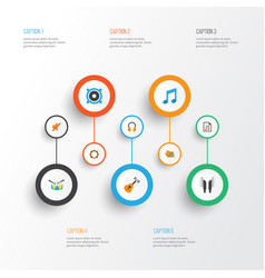Multimedia flat icons set collection of ear muffs vector