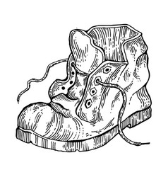 Old shabby boot engraving style vector