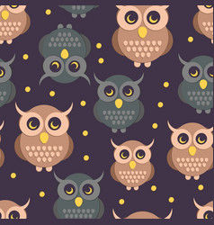 Owl in flat style pattern vector