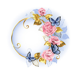 Round banner with pink roses vector