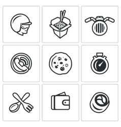 Set of delivery icons courier food vector