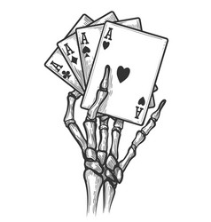 Skeleton hand with four aces vector