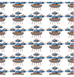 Ufo flying with clouds pattern background vector