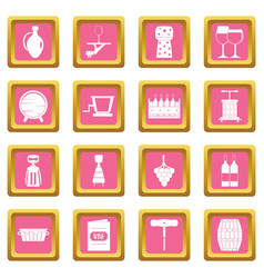 wine icons pink vector image