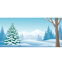 Winter day panoramic vector
