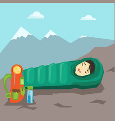 woman sleeping in sleeping bag in the mountains vector image vector image