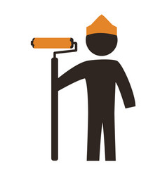 Worker man silhouette painting vector