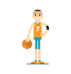 young smiling basketball player in flat design vector image vector image