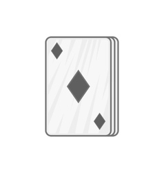 Ace of diamonds icon black monochrome style vector
